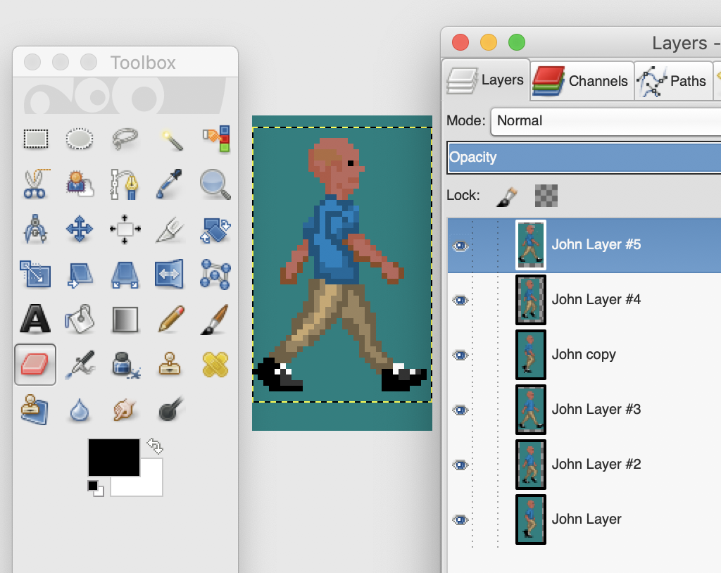 A screenshot of the image editing tool GIMP showing a large frame of John walking, with other layers, smaller, along the right column