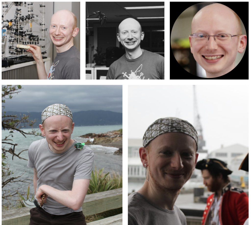 A collage of five photos of my friend John