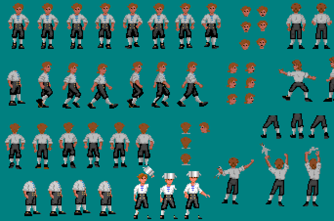 "A ""sprite sheet"" of the character Guybrush Threepwood from Monkey Island"